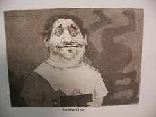 """Art print Charles Bragg artist black Lithograph """"researcher"""" Duotone Signed"""