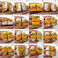 NATURAL BUMBLE BEE ECLIPSE JASPER PAIR CABOCHON LOOSE GEMSTONE JEWELRY USE BB-D