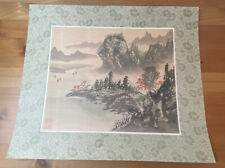 Japanese Aquarelle Painting on Silk On Cardboard Original Masterpiece Master