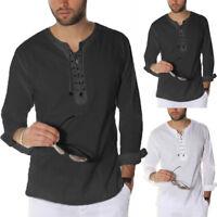 S-3XL Men Casual Long Sleeve Middle East Style Arab Kurta Saudi Shirt Blouse