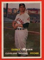 1957 Topps #40 Early Wynn EX+ WRINKLE HOF Cleveland Indians FREE SHIPPING