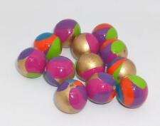 VTG 12 Colorful Hand Painted ROUND Gold Fun Wood Beads Unique Craft Jewelry Lot