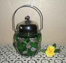 RARE GORGEOUS VINTAGE DEEP EMERALD GREEN SILVER LEAFS MUSICAL BISCUIT COOKIE JAR