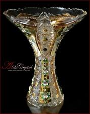 """Bohemian Crystal Vase for flowers 31 cm, """"Shaherezada"""" Gold, New!"""
