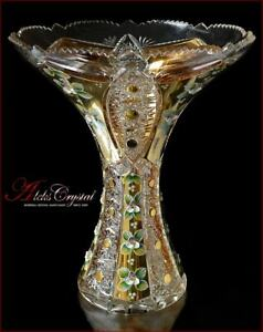 "Bohemian Crystal Vase for flowers 31 cm, ""Shaherezada"" Gold, New!"