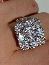 Large Real Solid 925 Sterling Silver Men's Baguette Diamond Cross Ring Hip Hop