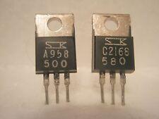(x2 pcs).SANKEN 1 COMP. PAIR 2SC2168 NPN/ 2SA958 PNP TO-220 TRANSISTORS 200V