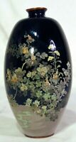 Japanese Silver Wire Cloisonné Meiji Vase Black Flowers Stream Wireless