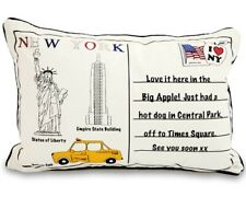 Retro New York Postcard Slogan 60cm x 40cm  Boudoir Cushion with Bounce Back Pad