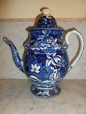 W Adams & Sons Transferware Flow Blue Coffee Pot 1804-1840