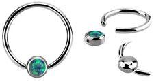 Piercing Schmuck Lippenbändchen Nasen Ring BCR 1,2mm mit 4mm Klemm Platte + Opal