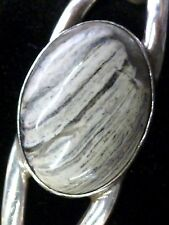 "Sterling Silver Gray Lace Agate Mexico Cuff Bracelet 7.25"" Wrist 925"