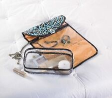New Mud Pie Hanging Jewelry Cosmetic Toiletry Travel Case LEOPARD Blue Foldable
