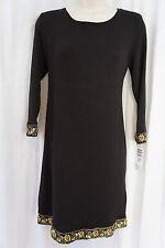 Tiana B Dress Sz M Black Casual Sweater Shift Dress Business Dinner Wear Sequin