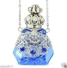 VINTAGE Tocador Color Plata Filigrana CELESTE Botella de perfume hecho a mano