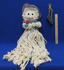 """Mop Doll 22"""" Long Country Decor Wood Block Cube & Wooden Heart On A Rope 3 Pcs"""