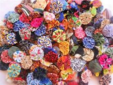 "50 Yo Yo Fabric 1"" YoYo Quilt Vintage New Embellishments Flowers Button Trim"