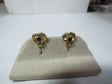 14K SOLID GOLD CIRCLE EARRINGS W /BLUE NATURAL SAPPHIRES