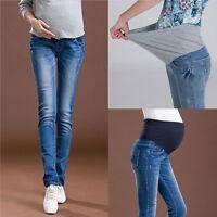 Women's Adjustable Maternity Jeans Elastic Skinny Denim Trousers Pregnant Pants