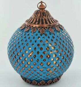 Moroccan Style Turquoise Patterened Glass LED Lantern Home/Garden Decor 18cm