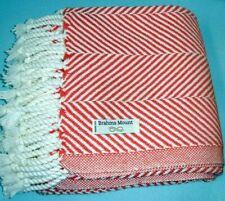 """Brahms Mount Monhegan Herringbone Cotton Throw Coral/White Usa Made 48x70"""" New"""