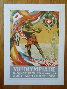 1896-96 Olympiad SUMMER OLYMPIC GAMES 1920 ANTWERP BELGIUM Commemorative Poster