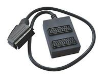 2 Way Scart Splitter with 300mm Cable Lead & Extension box. TV/DVD/Cable/Video