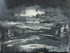 """original tonal landscape painting art work acrylic 18x24"""" night forest grisaille"""