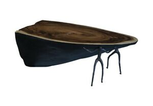 """46"""" L Coffee Table Contemporary Metal Figures Support Solid Acacia Wood"""