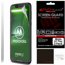 3 Pack of TECHGEAR CLEAR Screen Protector Guards For Motorola Moto G7 Play