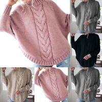UK Women Winter Batwing Sleeve Knitwear Warm Tops Sweaters Jumpers Cardigans