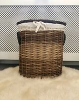 Light Dark Brown Hand Made Woven Wicker Baskets for Storage With Lid