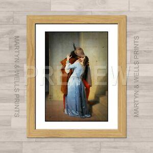 Francesco Hayez framed print: The Kiss. 400mm x 325mm. Textured canvas paper.