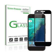 Google Pixel amFilm Full Cover Tempered Glass Screen Protector (1 Pack, Black)