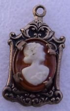 Cameo Pendant Gold Filled Victorian Style Dainty Light Orange Glass Shell Small