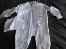 New Infant Outfit by Gems Kids Design White Knit Baby Girl Sweater with Hat LOOK