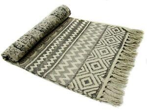 Indian Cotton Area Runner Grey Color Rug Hand Block Dari Fringe Mat For Floor
