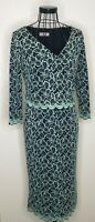 PER UNA MARKS AND SPENCER Navy and Green Lace Scalloped V Neck Dress UK 10