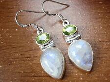 Moonstone Faceted Peridot Earrings 925 Sterling Silver Dangle Corona Sun Jewelry