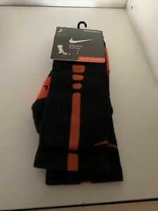 Nike Men's Elite DRI-FIT Basketball Cushioned Crew Socks Orange/Black