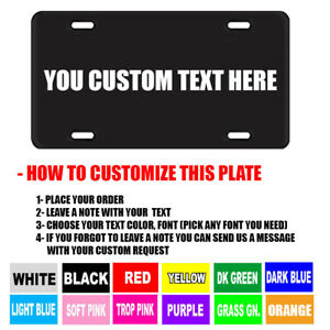 BLACK PERSONALIZED CUSTOM ALUMINUM LICENSE PLATE Car Tag (Your Name & Color))