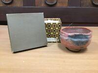 Y0521 CHAWAN Raku-ware Red signed Japanese Tea Ceremony bowl pottery japan
