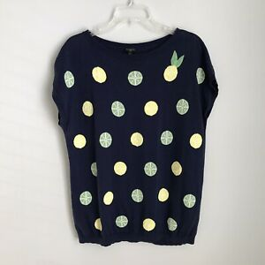 Talbots XL Petite Blue Short Sleeve Embellished Lime Lemon Sweater