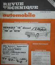 Revue technique RENAULT 18 diesel TD GTD R 1344 R 1354 RTA 415 1981 + OPEL