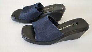 HILLARD & HANSON Denim Wedge Sandals Slides 7.5 Vintage 1990's