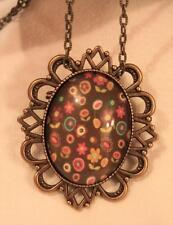 Festooned Brasstone Brown Pink Peach 1970s Flower Power Pendant Necklace Brooch