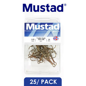 [25 Pack] Mustad Classic Treble Hooks 3551-BR OShaughnessy Fishing Hook