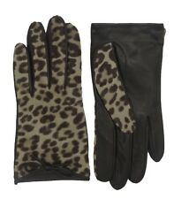 COACH Leopard Leather Winter Gloves Womens Calfhair Silk Lined Bow Logo 83874