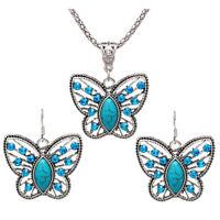 Juego de joyas Juego de collar de pendiente de mariposa de cristal aretes d I8W2