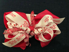 """New Huge 6� Custom Boutique Stacked Hairbow """"Big Sister� Curlz Pink Ribbon Bow"""
